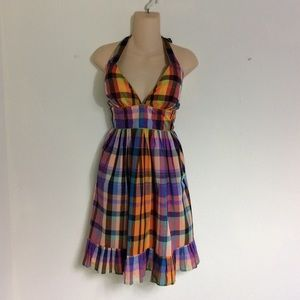 French Connection plaid halter dress NWT